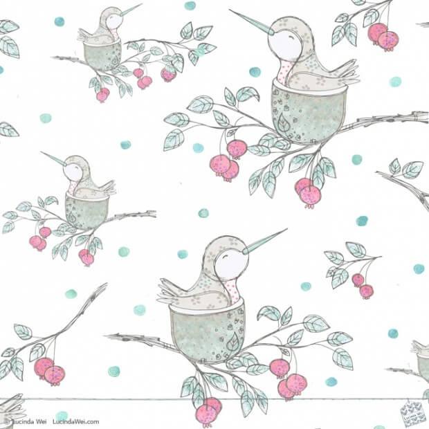 Hummingbirds Garden Pattern 1